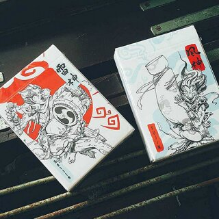 Fujin & Raijin Playing Cards - Red