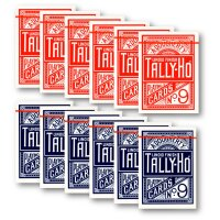 12 x Tally-Ho FAN Back Poker Karten blau/rot